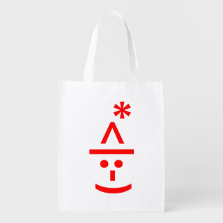Christmas Elf Emoticon Xmas ASCII Text Art Reusable Grocery Bag