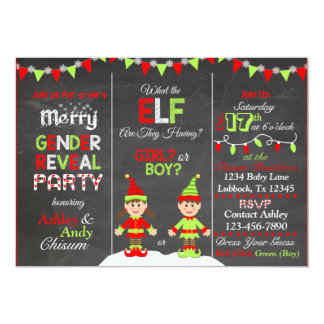 Christmas Elf Gender Reveal Invitation