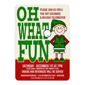 Christmas Elf Gift Exchange Party Invitation