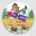 Christmas elf gift tag cute classic round sticker