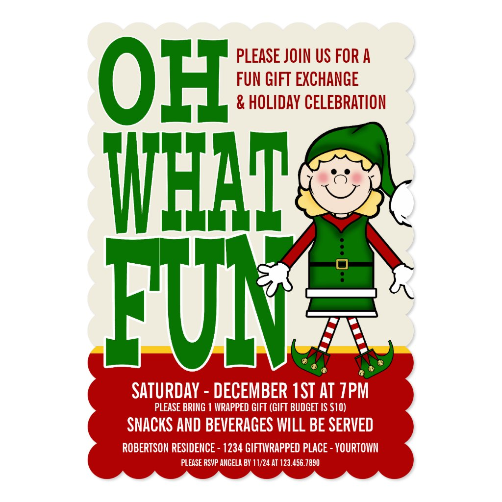 Christmas Elf Girl Gift Exchange Party Invitation