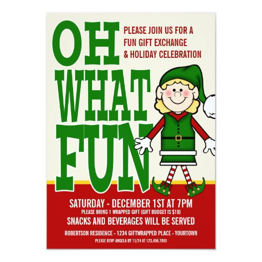 "Christmas Elf Girl Gift Exchange Party 5"" X 7"" Invitation Card"