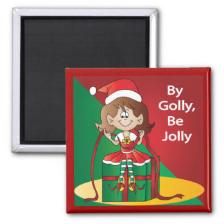 Christmas Elf Girl Wrapping A Gift Magnet