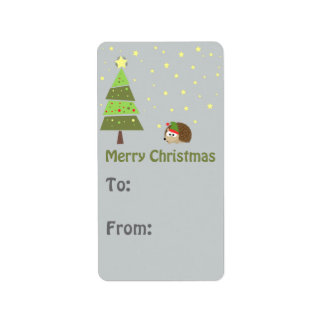 Christmas Elf Hedgehog Gift tag
