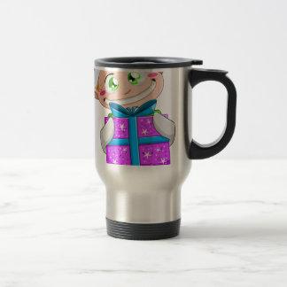 Christmas Elf Holding A Present Travel Mug
