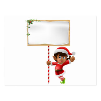 Christmas elf holding a sign postcards