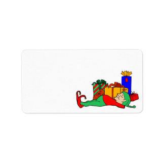Christmas Elf Holiday Card Self Adhesive Label Address Label