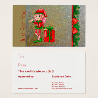 Christmas Elf Holiday Gift Card Just For You Gold