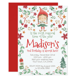 christmas birthday invitations zazzle