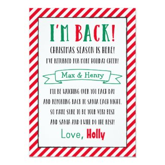 Christmas Elf is Back | Custom Letter 5x7 Paper Invitation Card