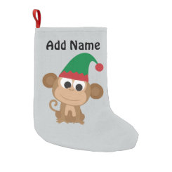 Christmas Elf Monkey Small Christmas Stocking