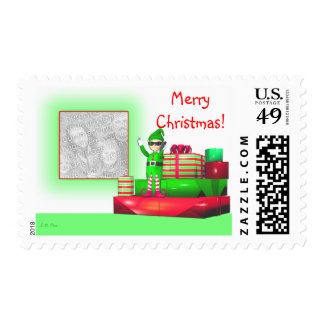 Christmas Elf on Cellphone (photo frame) Postage Stamps