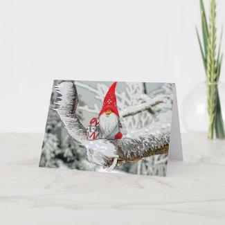 Christmas Elf On Snowy Branch Card