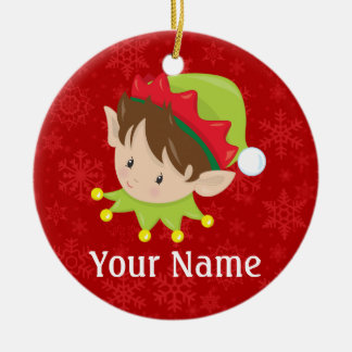 Christmas Elf Personalized Ceramic Ornament