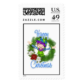 Christmas Elf Postage Stamp