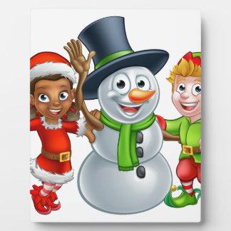 Christmas Elf Santas Helpers and Snowman Plaque