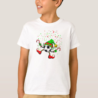 Christmas Elf soccer Celebrati kids white t-shirt