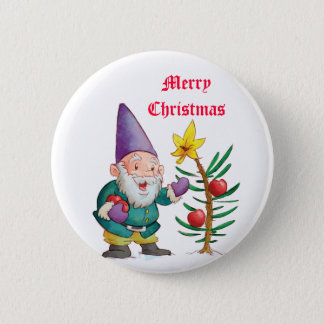 Christmas Elf & Tree Button