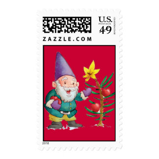 Christmas Elf & Tree Postage Stamp