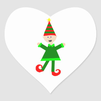 Christmas Elf with Green and Red Striped Star Hat Heart Sticker