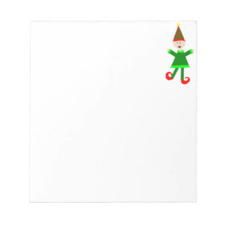 Christmas Elf with Green and Red Striped Star Hat Note Pad