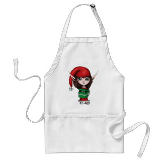 Christmas Elf with Live Present Adult Apron