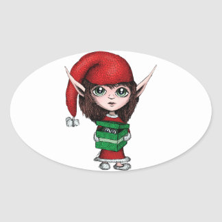 Christmas Elf with Live Present Oval Sticker