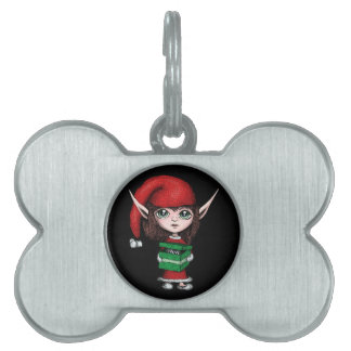 Christmas Elf with Live Present Pet ID Tag