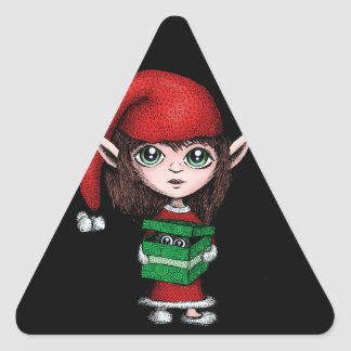 Christmas Elf with Live Present Triangle Sticker