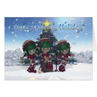 Christmas Elf's rocking around the Christmas Tree Card