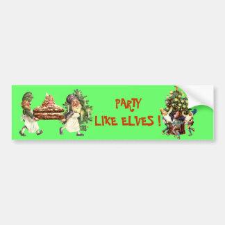 CHRISTMAS ELVES CAR BUMPER STICKER