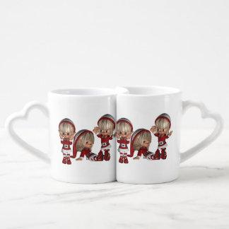 Christmas Elves Couples' Coffee Mug Set