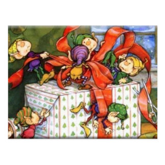 Christmas Elves Playfully Wrapping Gift Postcard