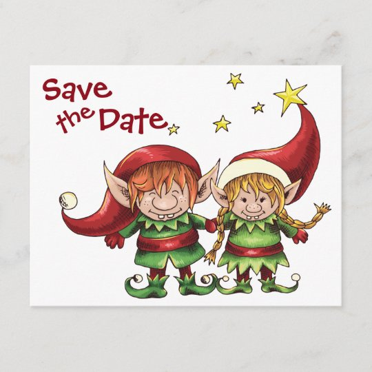 Christmas Elves.Christmas Elves Save The Date Wedding Announcement