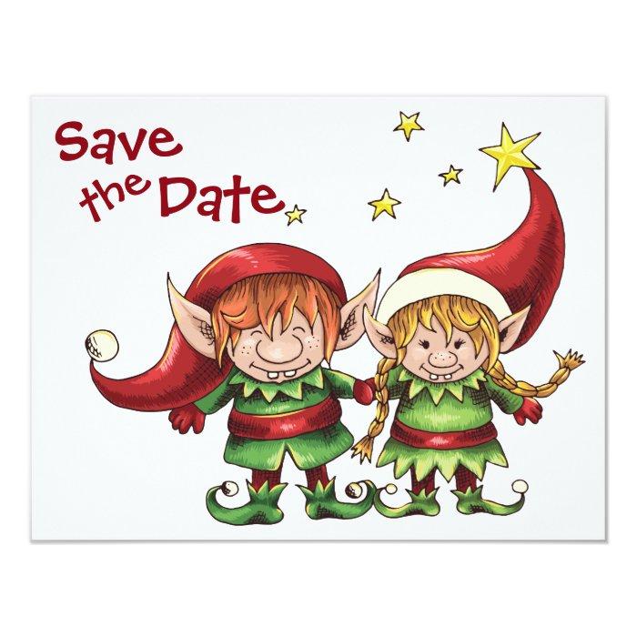 Christmas Elves Save the Date Wedding Announcement | Zazzle