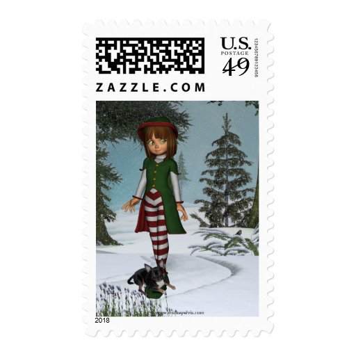 Christmas Elves Scenes and ME 12 Postage Stamp