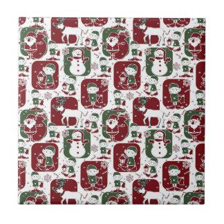 Christmas Elves & Snowmen Tile