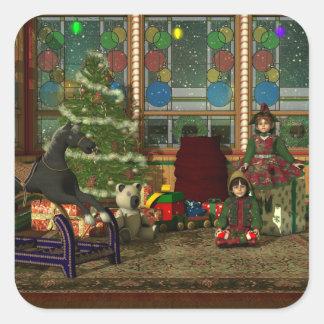 Christmas Elves Square Sticker