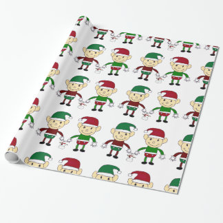 Christmas Elves white wrapping paper