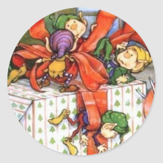 Christmas Elves Wrapping Gift Sticker