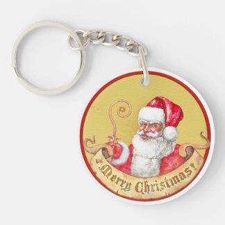 Christmas emblem: Santa Claus with golden wand Single-Sided Round Acrylic Keychain