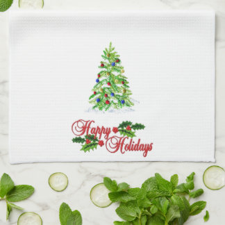 Christmas Embroidered Look Kitchen Towel