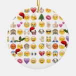 christmas emojis ceramic ornament