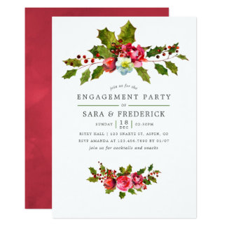 Christmas Engagement Party Holly and Ivy Invite