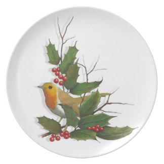 Christmas, English Robin, Holly, Berries: Art Plate