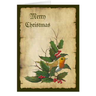 Christmas: English Robin, Parchment, Holly, Twigs Card