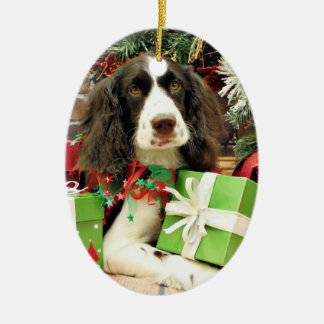 Christmas - English Springer Spaniel - Kinzie Double-Sided Oval Ceramic Christmas Ornament