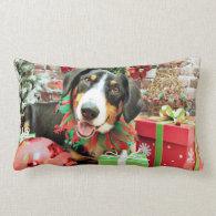 Christmas - Entlebucher Mountain Dog - Eiger Throw Pillows
