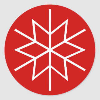 Christmas envelope seals with snow flake design classic round sticker