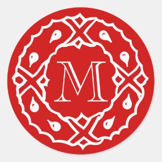 Christmas envelope seals with wreath monogram round stickers